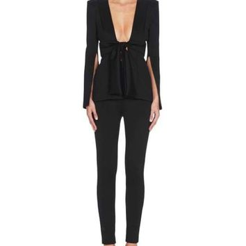 Black Tie Front Open Back Pants Suit