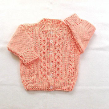Toddler cardigan - Baby girls peach sweater - Childs knit sweater - Toddler clothing - Baby girl clothing