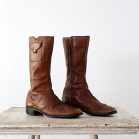ON SALE 1970s Leather Boots // Hippie Boots // Women's 9.5