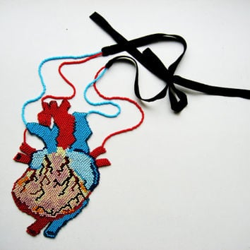 Anatomically correct human heart necklace