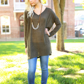 Piko - V neck sweater - Army