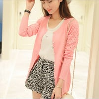Long-Sleeve Cutout Button Knitted Cardigan