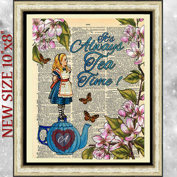 Art print on antique Dictionary book page Alice in Wonderland. Art dictionary print it's always tea time . Blue Wall art on upcycled media.