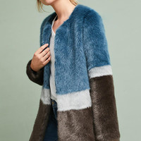 Colorblocked Faux Fur Coat