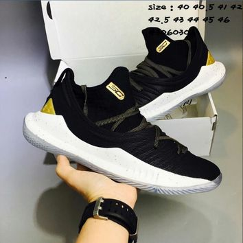 Under Armour UA CURRY 5 Fashion Men Personality Low Top Sport Running Basketball Shoe Sneakers Black/Golden I-AHXF