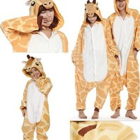 Zicac Costume Giraffe Animal Children and Adult Pajamas Pyjamas Sleepwear Nightclothes Loungewear Cosplay(160-170cm)