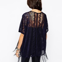New Look Paisley Lace Kimono With Tassels at asos.com