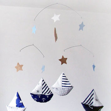 Baby Crib Mobile, Baby mobile, Sailboat Mobile, nursery baby mobile, ship mobile, stars baby mobile, Nautical Nursery Decor, grey and navy