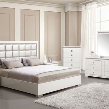 Acme 20250Q 5 pc Valentina white high gloss finish wood pearl faux leather queen bedroom set