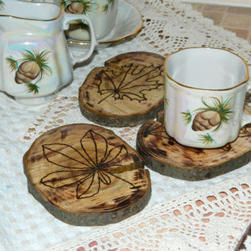 Rustic wood coasters-engraved drink wooden coaster set-Home decor-drink coasters-woodworking-woodburning-coffee cooking-Fall decor-Kitchen
