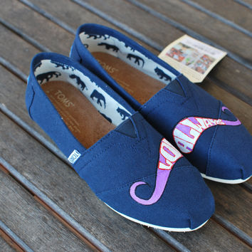 Love Always Navy Mustache TOMS shoes