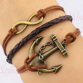 Infinity bracelet, anchor bracelet,braid leather bracelet, navy bracelet, antique bronze, girlfriend gift,friendship christmas gift