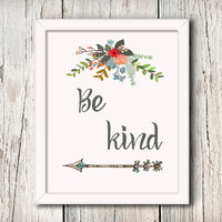Be Kind, Cinderella, Baby Girl Nursery, Wall art, Arrow, Flower Art, Inspirational, Digital Print, Disney, 8 X 10, Art Typography