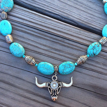 Western necklace. Bullet jewelry. Turquoise. Bull skull.