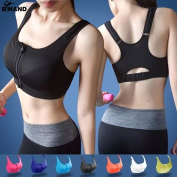 High Impact Running Shockproof Sports Bra Padded Wirefree With Front Zipper Closure And Adjustable Strap Fitness Tops