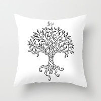 Shirley's Tree BW Throw Pillow by Laurie A. Conley