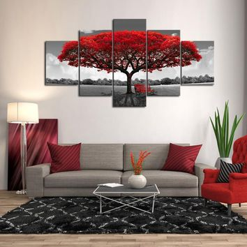 5 Pieces Autumn Red Tree Canvas Set, Multi Panel Print Decor, Red Leaves House Gift, Abstract Picture Wall Art,  Home Decoration