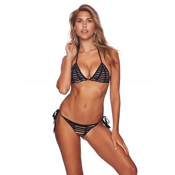 Beach Bunny Hard Summer Black Triangle Top & Side Tie Scrunch Bottom Bikini Swimwear Set