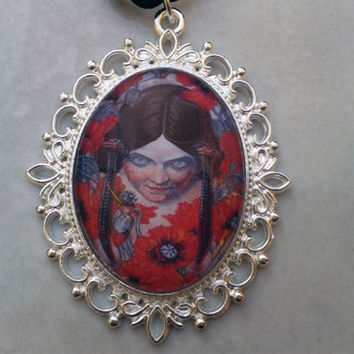 "Art nouveau pendant necklace, ""Les Fleurs du Mal"" illustration, goth pendant, choker length, girl with poppies, silver plated; UK seller"