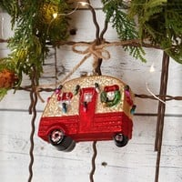 Glitter and Glass Camper RV Holiday Ornament with Faux Christmas Lights and Wreath - 4-in