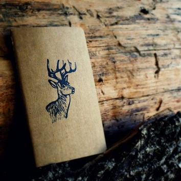 White-Tailed Deer Stag Buck Antlers Rustic Western Blank Notebook Moleskine Journal Hand Carved Stamp