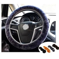 Soft Plush Car Auto Steering Wheel Cover Solid Winter Grips Car Accessory 34cm = 5987839553