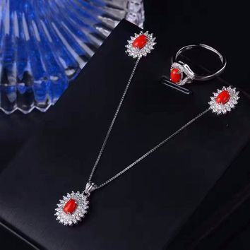Classic Red Coral Silver Design Earring/Necklace Jewelry Set