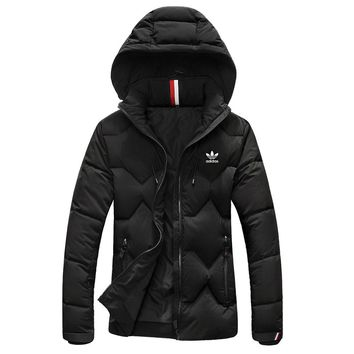 Adidas High Quality Winter Fashionable Women Men Warm Hooded Zipper Cardigan Down Jacket Coat Windbreaker Black