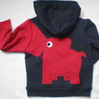 Toddler boys zip front hoodie, hooded sweatshirt, navy blue with red elephant trunk sleeve, elephant back, 24months, 3T, 5T