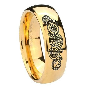8mm Doctor Who Dome Gold Tungsten Carbide Men's Promise Rings