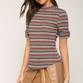 Multi Stripe Mock Neck Tee