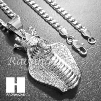 316L Stainless steel Silver King Cobra w/ 5mm Cuban Chain SG010