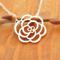 Rose Necklace - sterling silver, silver flower necklace, silver rose pendant, floral necklace