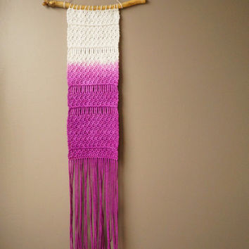 Boho Wall Hanging / Woven Bohemian Dip Dyed Cotton / Ombre Tapestry / Gypsy Fringe Weaving / Violet Purple / Rustic Textile / Home Décor