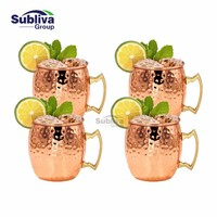 4 PCS Free Shipping 550ml Copper Plated Barrel Hammered Moscow Mule Mug Coffee Cup Beer Cup Set of 4