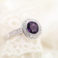 Magic Pieces Sterling Silver Ring with Big Round Natural Brazilian Purple Amethyst and CZ