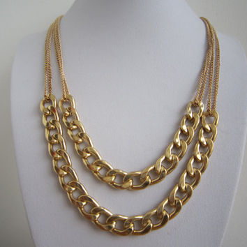 2 Layers Thick Gold Chunky Chain Necklace, Curb Chain Necklace, Bridesmaids Jewelries, Graduation Friendship Gift / Trending Accessories