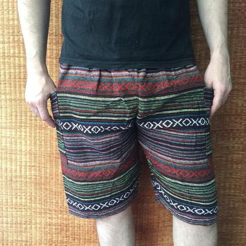 Woven Shorts Boho Aztec Hippie Tribal festival Men women Clothing Burning man Beach Summer Gift Vegan Hipster Bohemian Gypsy Napali Handmade