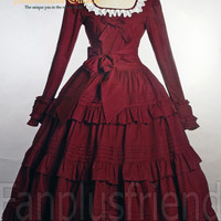 Fantasy Classic Gothic Lolita Frilly Long Sleeves Dress