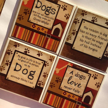 Dog quote coasters, i love my dog, dog lover, customize dog pictures, dog home decor, mans best friends, my dog is better than yours, puppy