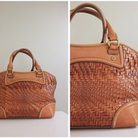 Cole Haan Woven Brown Leather Handbag Purse
