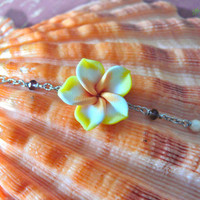 Plumeria Jewelry made in Hawaii, yellow tropical flower anklet Hawaiian Jewelry by Mermaid Tears