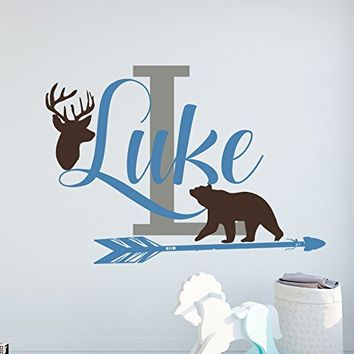 Personalized Name Wall Decal Deer Decal Boy Name Wall Decal Bear Vinyl Decal Deer Antler Decal Bear Decal Boy Nursery Bedroom S110