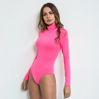 Slim Women's Fashion Winter Sexy Long Sleeve High Neck Pink Ladies One-piece [312185421865]