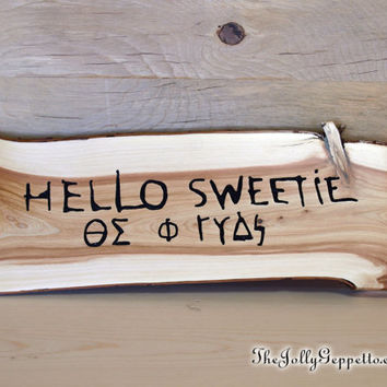 "Doctor Who ""Hello Sweetie"" River Song's Greeting and Temporal Coordinates, Magical Carved Wood Time Travel Sign, by The Jolly Geppetto"