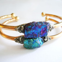 Raw Stone Mineral Bracelet -Boho Chic - Blue Peacock Ore Mineral