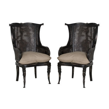 Caned Wingback Chair