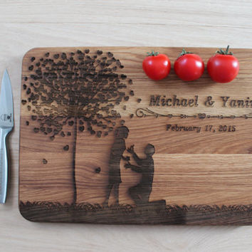 Wedding Gift Cutting Board for the couple Love Tree names engraved cutting board Custom Wedding Gift Love Tree