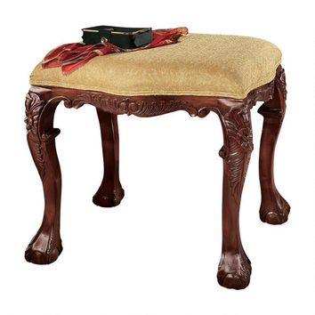 French Baroque Honey Upholstered Bench