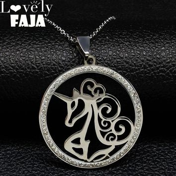 2018 Fashion Unicorn Stainless Steel Necklaces Pendants for Women Silver Color Crystal Necklaces Jewelry collar gato N18260